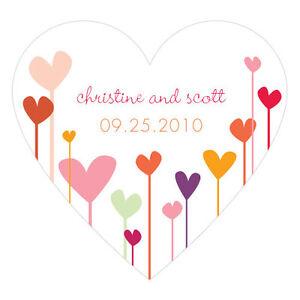 36 Heart Shaped Hearts Stickers Wedding Favor Seals