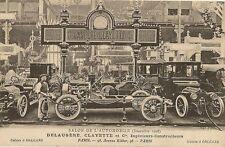CARTE POSTALE SALON DE L'AUTOMOBILE DELAUGERE CLAYETTE ET Cie PARIS 1908