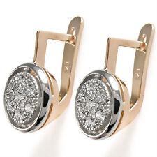 Russian Jewelry 14k Rose & White Gold .70 CWT Diamond Earrings #E1112