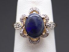 14k Yellow Gold 1.08ct Cabochon Cut Multi Color Opal Diamond Cocktail Band Ring