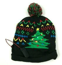 Christmas Tree Beanie Hat Cap LIGHT UP Black Knit Pompom Color Changing Lights