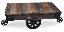Montreal Vintage Railway Sleeper Timber Coffee Table with Cast Iron Finishes