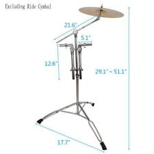 More details for double tom drum stand cymbal boom mount arm percussion hardware steel silver