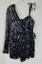Topshop women 8 star print velvet one shoulder romper jumpsuit