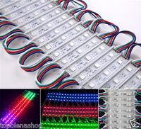 20 MODULI LUCI LED SMD 5050 3 LED RGB DC 12V DISPLAY IMPERMEABILE DECORAZIONI