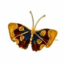 Butterfly Brooch with Colored Enamel 14kt Yellow Gold