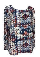 Sportsgirl Size 14 Long Sleeved Sheer Blouse Blue White Red Shirt Tail Hem Polye