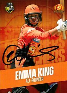 ✺Signed✺ 2019 2020 PERTH SCORCHERS WBBL Cricket Card EMMA KING