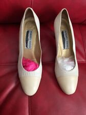 Roberto Vianni For Neiman Marcus Womens Vtg Beige Pumps Heels Shoes Sz 7.5