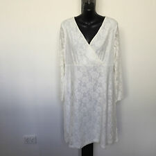 'GARFUNKLE' BNWT SIZE '14' CREAM LACE LINED LONG SLEEVES CROSS-FRONT DRESS