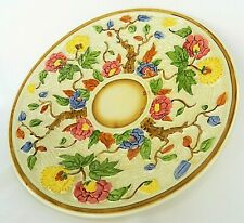 More details for h.j.wood 'indian tree' hand painted collectable floral honey glaze plate
