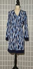 $130 NWT Michael Kors Faux Wrap Long Sleeve V Neck Dress Heritage Blue Large