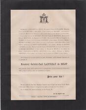 1887 Faire-part décès Gabriel-Paul LADUREAU de BELOT - Toulouse.