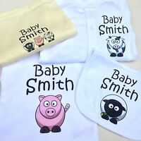 PERSONALISED Animal Baby Clothing Gift Set, Ideal Present for baby showers gifts
