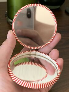 Antique German Compact Mirror With Double Mirror - CLASSIC RED AND WHITE STRIPES