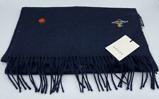 $1,000 Gucci Navy Blue Cashmere And Silk Scarf Made in Italy