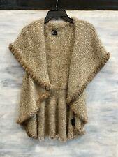 NWOT! LOVE TOKEN LT LT40-47 Knit Genuine Rabbit Fur Trim Vest, L - Taupe
