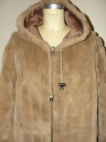 VINTAGE 90'S CHUNKY TAN FAUX FUR PARKA REVERSIBLE HOODED WINTER JACKET COAT*M/L