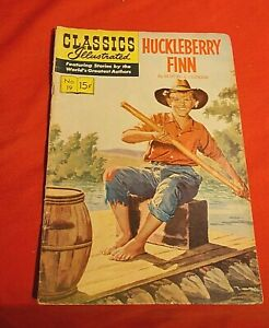CLASSICS ILLUSTRATED # 19 HUCKLEBERRY FIN JAN 1945 GILBERTON COMICS GOLDEN AGE