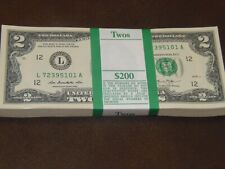 CURRENCY 2901 COLLECTIBLE- U.S 100 NEW UNCIRCULATED CONSECUTIVE $2 BILLS
