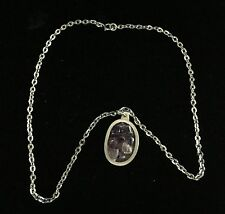 Signed Pewter Jorgen Jensen Denmark Modernist Pendant Necklace with Amethyst
