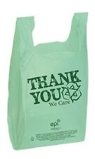 "Plastic T-Shirt Bags 500 Shopping Retail 11½"" x 6"" x 21 Recycled Thank You Green"