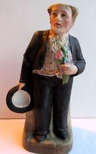 Flacon, bouteille porcelaine peinte, Le BOSSU au chapeau haut de forme, n° 4997
