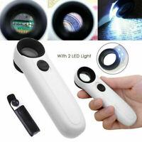 40x Lupe mit 2 LED Licht Leselupe Vergrößerungsglas Handlupe Juwelierlupe S9P8