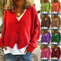 Womens Knitted Coat Cardigan Ladies Button Loose Jumpers Sweater Tops Plus Size