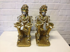 Vintage Pair of Alleged Veiled Prophet Ceramic Candle Holders Women in Costume