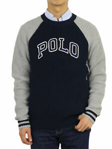 """Polo Ralph Lauren Boy's 2-Tone Crewneck Pullover Sweater with """"POLO"""" - 3 colors"""