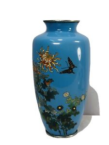 19th Japanese blue ground enamel bronze vase