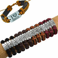 12 Pcs Handmade Leather Bracelets for Men I Love Jesus Adjustable Bangle Jewelry