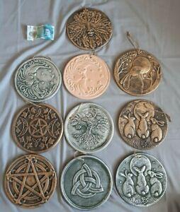 Garden plaques; pentagram; moon gazing hares; tree of life; pagan; wicca;