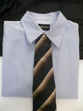 Fresh Giorgio Armani Men Classic Dress Neck Tie Dark Blue Beige Brown Stripes
