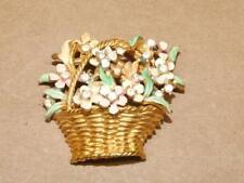 """Vintage BSK My Fair Lady Pastel Enamel Rhinestone Flower Basket Pin Brooch 1.75"""""""