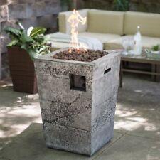 Gas Fire Column Propane Outdoor Stone Fireplace Patio Porch Yard Deck Heater Pit
