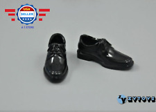 """1/6 Scale Black Bike Toe Dress Shoes for 12"""" Hot Toys Dragon DID Male Figure"""