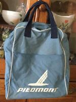 Vtg 1960's Piedmont Airlines Vinyl Canvas Zip Carry-On Tote Bag