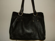 CRISTINA IN PELL  DARK BROWN PEBBLED LEATHER LARGE SHOULDER BAG ITALY