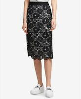 DKNY Womens New 1399 Lace Below The Knee Pencil Skirt Black/Ivory Size 6
