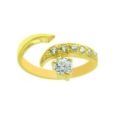 Real Solid 14K Yellow Gold Solid Adjustable Diamonique Cz Toe Ring
