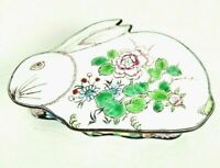 "Vintage Enamel Rabbit Box Trinket Storage Container Bunny Tole ware Flowers 5"" L"
