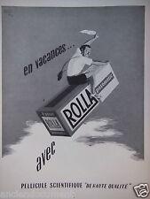 PUBLICITÉ 1952 EN VACANCES AVEC PELLICULE ROLLA POSOMATIC - ADVERTISING