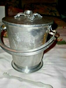 VTG ALUMINUM FLORAL ICE BUCKET & TONGS HAND WROUGHT CONTINENTAL  516