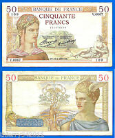 France 50 Francs 1937 15 April Serie V Ceres Europe Frcs Frc Frs Free Ship Wrld
