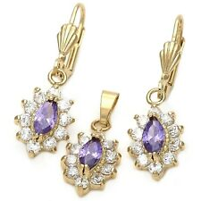 9ct Gold Filled Clusters  Earrings Pendant Chain Set with Amethyst Clear CZ B92