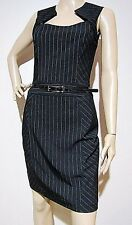CUE in the CITY size 8 striped stretch DRESS angled neckline & Cue patent belt
