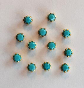 VINTAGE TINY TURQUOISE BLUE SWAROVSKI RHINESTONES IN SETTINGS BRASS 4mm • 17ss