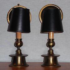 VINTAGE PR MARIO INDUSTRIES BRASS MANTLE LAMPS W/ SHADES & ADJUSTABLE REFLECTORS